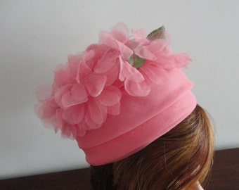Vintage  Pink Organza Flowers Women Hat Extra Small 20 1/8 inches 60s Pretty in Pink