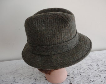 Vintage Grey Wool Blend  Men Hat Size 6 7/8 , 54cm 21 3/8  inches Made in USA