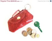 CLEARANCE SALE 50% OFF Leather Coin Purse - Tiny Leather Suitcase - in Red Kisses