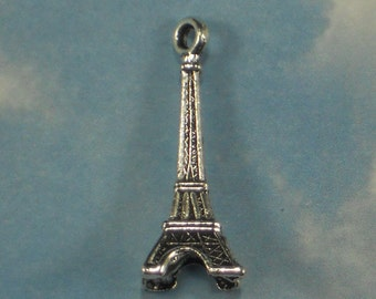 3 Eiffel Tower 3D Charm Antiqued Silver 30.5mm (P610)