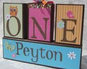 Birthday party blocks Centerpiece . 1st birthday . ONE year . PInk Aqua Orange Green . with Owl