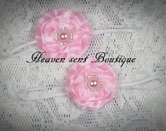 Pink Infant Headband, Newborn flower headband, Baby headband