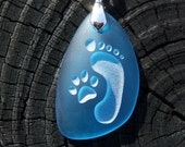 Footprint and Cat Paw Forever Friends - engraved on Ocean beach Sea Glass pendant - choose your color