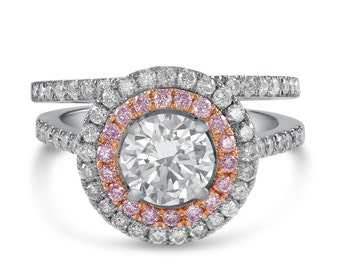 Round Cut double halo diamond engagement ring and band wedding set R216S