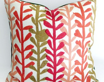 "Mid Century Modern Pillow Cover - 1950s Fabric in Red and Olive Leaf Print / 20"" x 20"""