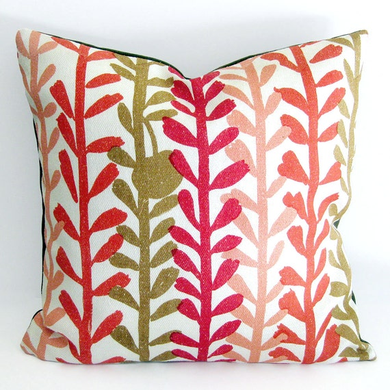 Mid Century Modern Pillow Covers : Mid Century Modern Pillow Cover 1950s Fabric in Red and