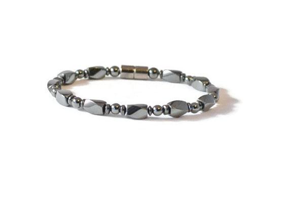 Mens Black Magnetic Hematite Therapy Bracelet Health Jewelry