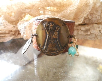 leather assemblage cuff religious bracelet shabby chic medal