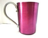 Reduced Vintage Aluminum Pitcher, Brushed Anodized Metal, Burgundy Pink, Shabby Cottage Chic, Retro Koolaid or Cocktails, Sturdy Handle