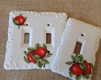 Vintage Wall Switch Plate Cover - Apple Motif