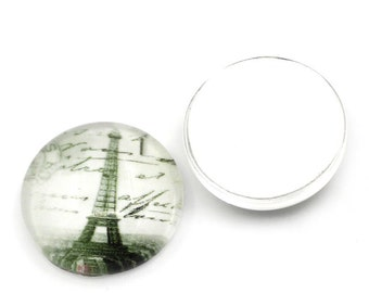 Glass cabochon 16 mm with Paris Eiffel tower – 4 pcs