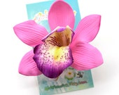 Orchid Hair Clip, 3 Inch, Pink Orchid,  Floral Hair Clip,   Hair Accessory, Orchid