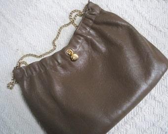 Vintage Bag Ande Brown Leather Purse 1960's Designer