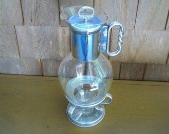 Vintage Serving Coffee Carafe Chrome Coffee Warmer Buffet Serving Party Carafe