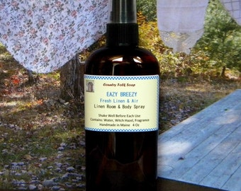 EAZY BREEZY Fresh Linen & Air Home Fragrance Spray - All Natural Linen and Room Spray