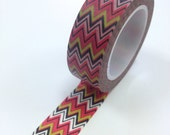 Washi Tape - 15mm - Pink Black Green Chevron - Deco Paper Tape No. 136
