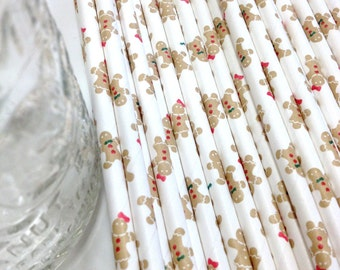 50 Gingerbread People Paper Straws - Perfect for Parties - Favors--Free Editable DIY Tags PDF