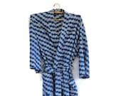 Bath Robe, Kimono, Wrap Robe, Ikat, Cotton, Blue, Gray