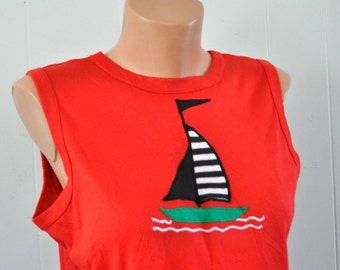 Vintage Tank Top Embroidered Sailboat Sailingl 80s Beach Boat Summer Surf Nautical Simple Tshirt Ladies MEDIUM