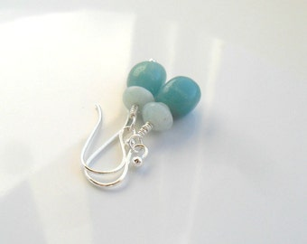 Amazonite Sterling Silver Earrings / Dangle earrings  / Color block gemstone earrings / boho chic / gift for her under 25