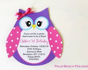 10 Owl Birthday Invitations inspired by the Birthday Express Owl by Palm Beach Polkadots