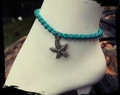 Anklet with starfish charm size and color options