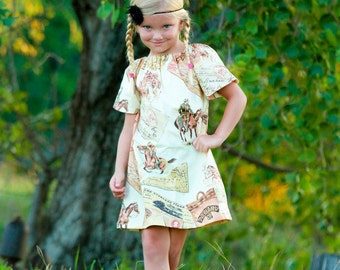 Horses dress, pony express dress, fall dress, Western dress, stables dress, rodeo dress