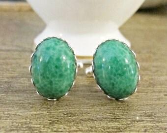 Jade Green Cufflinks. Vintage Wedding Groom Cuff Links Silver Glass Cabochon Marbled Formal Unisex