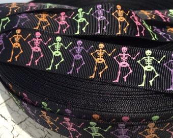 7/8 Halloween Skeleton Skull Neon grosgrain ribbon