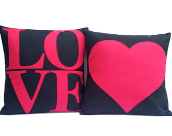 LOVE and Heart Matching Throw Pillow Covers Appliquéd in Pink and Navy Eco-Felt 18 inches