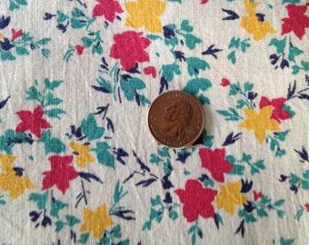 1/2 Vintage Feedsack,  Teal, Fuschia Goldenrod