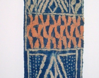 Handwoven NDOP Fabric  from  CAMEROON AFRICA Historical Political Geometric Raffia Resist Cotton Indigo Dyed
