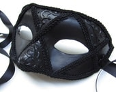 Mezzanotte Mask, Black Maquerade Eyemask with 3D Swirls and Black Trim