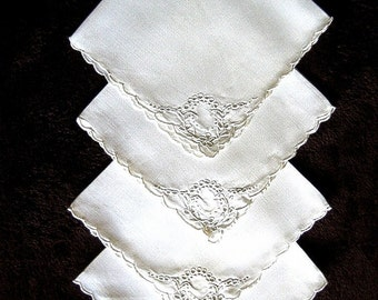 NAPKINS Replacement Tablecloth Napkin Set 4 WHITE Embroidered MADEIRA Fine Linen