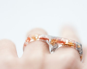 Two Finger Resin Ring Gold and Silver Flakes Double Ring OOAK rose gold modern minimalist resin jewelry