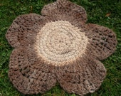Flower Alpaca Rug, Suri Alpaca, Soft and Warm, Hand Crocheted, Natural Colors