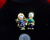 Boy and Girl Enamel Pin from the Fifties