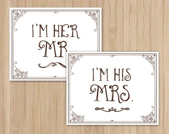 Instant Download - Mr and Mrs - Chair Signs - Garden Wedding - Rustic Wedding - Storybook Ending