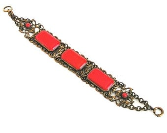 Czech Red Molded Glass Filigree Bracelet