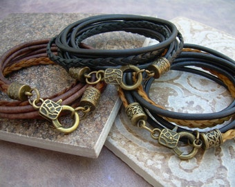 Triple Wrap Leather Bracelet with Antique Bronze Hardware, Mens Bracelet, Womens Bracelet,  Mens Jewelry, Wrap Bracelet