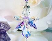 Purple Angel Rear View Mirror Charm Swarovski Crystal Guardian Angel Car Accessories