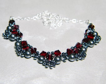 "Swarovski Crystal and Pearl Lace Scarlet and Black Sterling Silver - ""Edwardian Lace - Opera"""