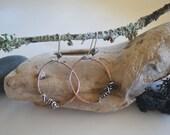 Hoop Earrings Handmade Circle Earrings Sterling Silver wrapped earrings brass and sterling Hoop Circle Earrings