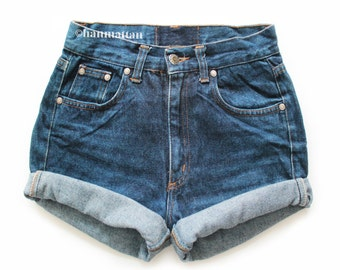 "ALL SIZES ""TURN"" Vintage Levi high-waisted denim shorts dark blue cuffed rolled turn up jeans"
