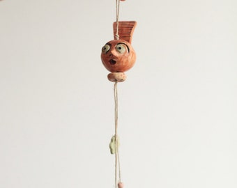 Bella -------- Ceramic Miniature on String--Holiday gift- red