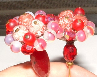 "my own design- 2 hatpins 8"" vintage 50s flower heads- glass beads REDS- u get both"