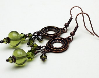 Lampwork Earrings Antique Bronze Copper Beaded Jewelry Boho Long Olive Green Dangle 'Spring Solstice'