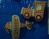 gingham Airplane Train Ornaments VINTAGE RETRO holiday decor retro tree, packages
