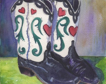 "Sweetheart of the Rodeo Boots, 6""x6"" Watercolor"