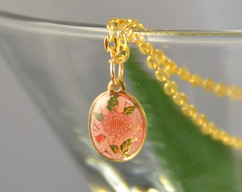 Pink Flower Necklace Mini Pendant Gold Japanese Vintage - W3027